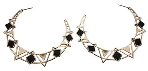 Women Earrings Set Big Fashion Hoop Gold Black Metal Geometric Dangle