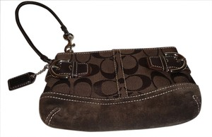 Coach Pouchette Small Signature Canvas Wristlet in Coach Monogram Dark Chololate Brown