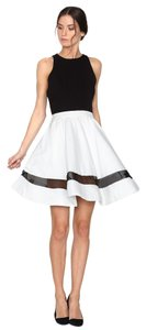 Alice + Olivia Black Silk Skirt White
