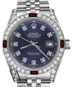 Rolex Rolex 36mm Datejust NavyBlue Dial with Ruby & Diamond Bezel Accent Watch