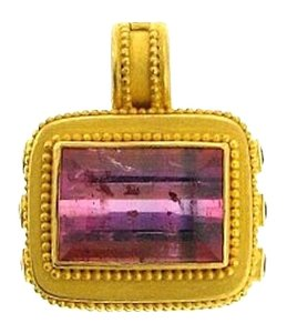 Carolyn Tyler High end Designer - Like NEW 22 karat yellow gold Carolyn Tyler 10.42 cts Tourmaline & .67 sapphire pendant