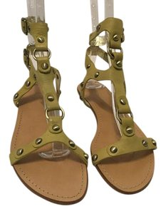 Sigerson Morrison Style Two Back Straps Gold Metal Grommets Tan all leather flat gladiator Sandals