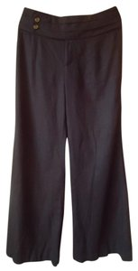 Anthropologie Wide Leg Linen Wide Leg Pants black