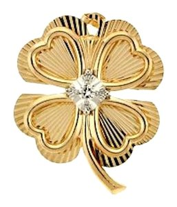 14 karat yellow gold 1/12 carat round brilliant cut diamond 4-leaf clover pin/pendant