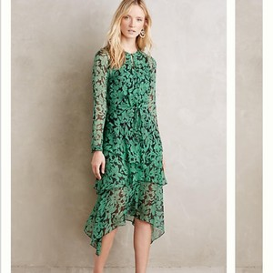 Anthropologie Green And Black Dress
