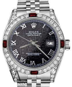 Rolex Ladies Rolex 26mm Datejust Black Jubilee Roman Numeral Dial with Ruby