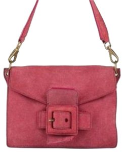 Miu Miu Mint Vintage Large Buckle Accent Brass Hardware Top Handle/snap Great Pop Of Color Satchel in salmon pink