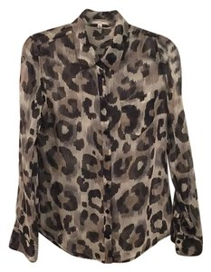 Equipment Button Down Shirt Grey animal print