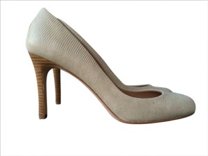 Ann Taylor Lizard Snakeskin Leather Stacked Heel Pumice Stone (Professional Pumps) Pumps