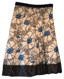 Lida Baday Graphic Silk Skirt Multi - blue, white
