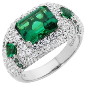 Jean Dousset Jean Dousset 5.02ct Absolute and Simulated Emerald Sterling Silver Ring - Size 10