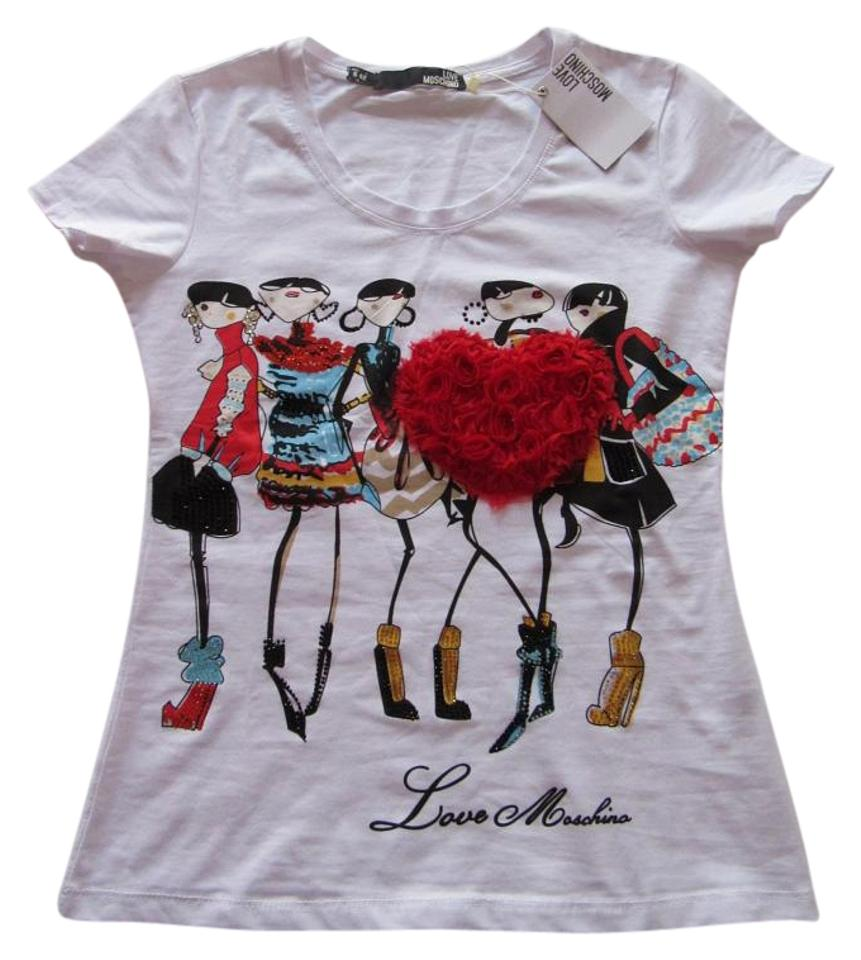 f16067ce Love Moschino White T-shirt 3d Heart Decoration Sleeves Tee Shirt. Size: 8  ...