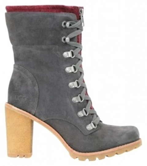 UGG Australia Suede Natural Rubber Ankle Ankle Leather Charcoal Boots