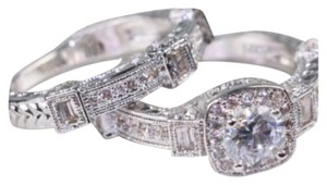Other New Antique Vintage White Sapphire & White Gold Filled Wedding Ring Set 6, 7, 8
