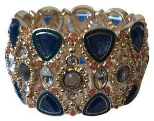 Banana Republic BR Gold Stretch Bracelet with Navy, Grey and Orange Crystals