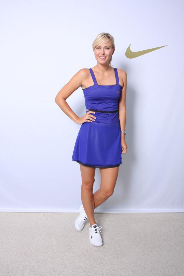 Nike Blue Grape Maria Sharapova Velvet Trim Mesh Dress Activewear Sportswear Size 4 S 27
