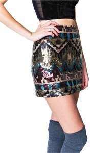 Sister Jane Sequin Night Out Mini Skirt Multicolor
