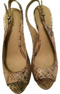ALDO Slingback Snakeskin Peep Toe Nude / Black / Brown Pumps