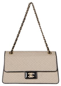 Chanel Two-tone Patent Leather Flap Large Shoulder Bag