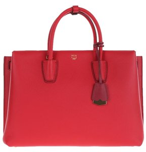 MCM Leather Milla Tote in Ruby Red