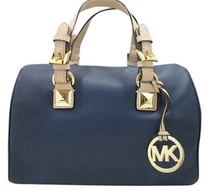 Michael Kors Grayson Leather Satchel in Navy