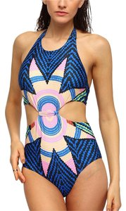 Other Tribal Print Cutout One-Piece Swimwear- Blue