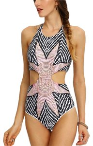 Other Tribal Print Cutout One-Piece Swimwear- Grey