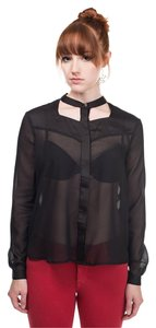 Finders Keepers Cut Out Sheer Top Black