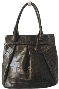 Furla Handbags Crocodile Embossed Leather Croc Emb Tote in Dark Green