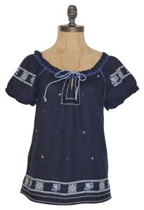 Lucky Brand Peasant Boho Embroidered Top BLUE