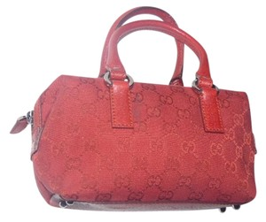 Gucci Satchel in Red large G logo print & red leather