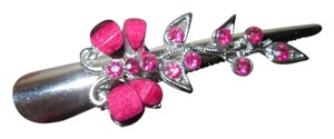 Hair Clip Silver and pink butterfly hair clip