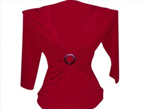 AGB Ruching 3/4 Sleeve Polyester Hammered Buckle Top Rich Red