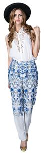 Straight Leg Straight Pants Blue Floral