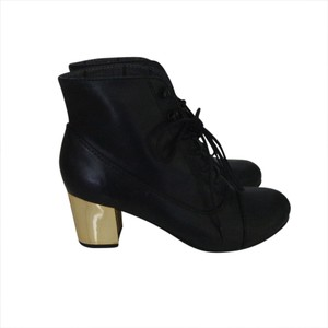 Bertie Gold Lace Up Ankle Round Toe Black Boots