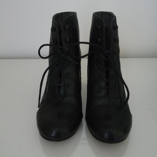 Bertie Gold Lace Up Ankle Round Toe Black Boots Image 1