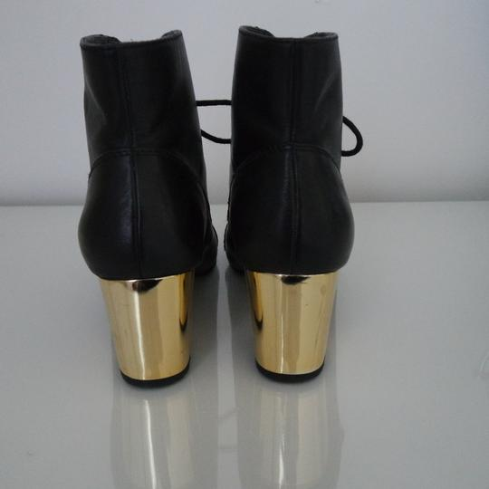 Bertie Gold Lace Up Ankle Round Toe Black Boots Image 2