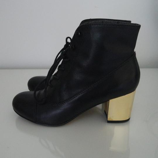 Bertie Gold Lace Up Ankle Round Toe Black Boots Image 4