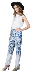 Other Floral Leg Pleated Straight Pants Blue Floral