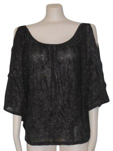 Anthropologie Sparkled Crincled Night Out Date Night Top BLACK