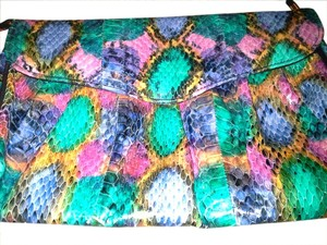 J. Renee Leather Snakeskin Vintage multicolored Clutch