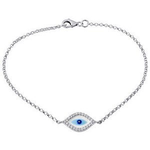 Jewelry For Less Diamond Evil Eye Bracelet Inch Ladies 14k White Gold Rolo Chain Link 0.12 Ct.