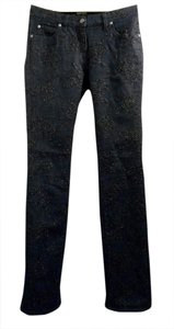 Giorgio Armani Embroidered Embellished Boot Cut Jeans-Dark Rinse
