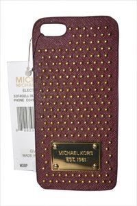 Michael Kors reduced!!! MICHAEL KORS Claret Saffiano Leather Studded IPhone 5/5S Hard Phone Case