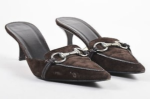 Gucci Suede Leather Brown Mules