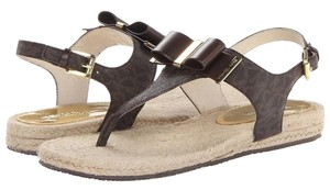 MICHAEL Michael Kors Logo Ankle Strap Rope Trim Brown Sandals