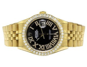 Rolex Mens Steel Rolex Datejust Black Dial Jubilee 36mm Gold Plated Diamond Watch Ct