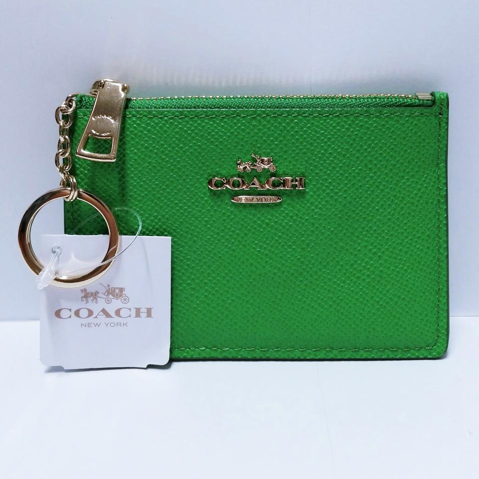 e8934f4fee0565 Coach (N W T) Mini Skinny Id Case In Embossed Textured Leather Keychain /  Coin Purse / Skinny / Small / Wallet