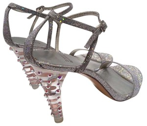 Stuart Weitzman Glitter Strappy Lucite Heel Glass Crystals Galactic Silver Sandals
