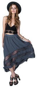 Black Sheep High Low Lace Sheer Maxi Skirt Smoke Gray
